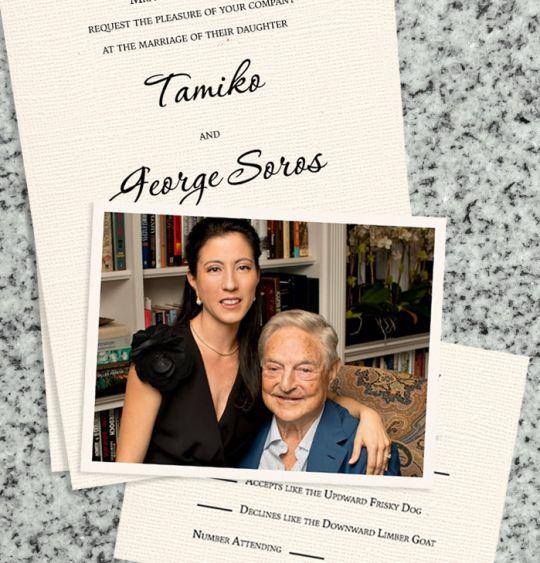 george Soros wedding invatation