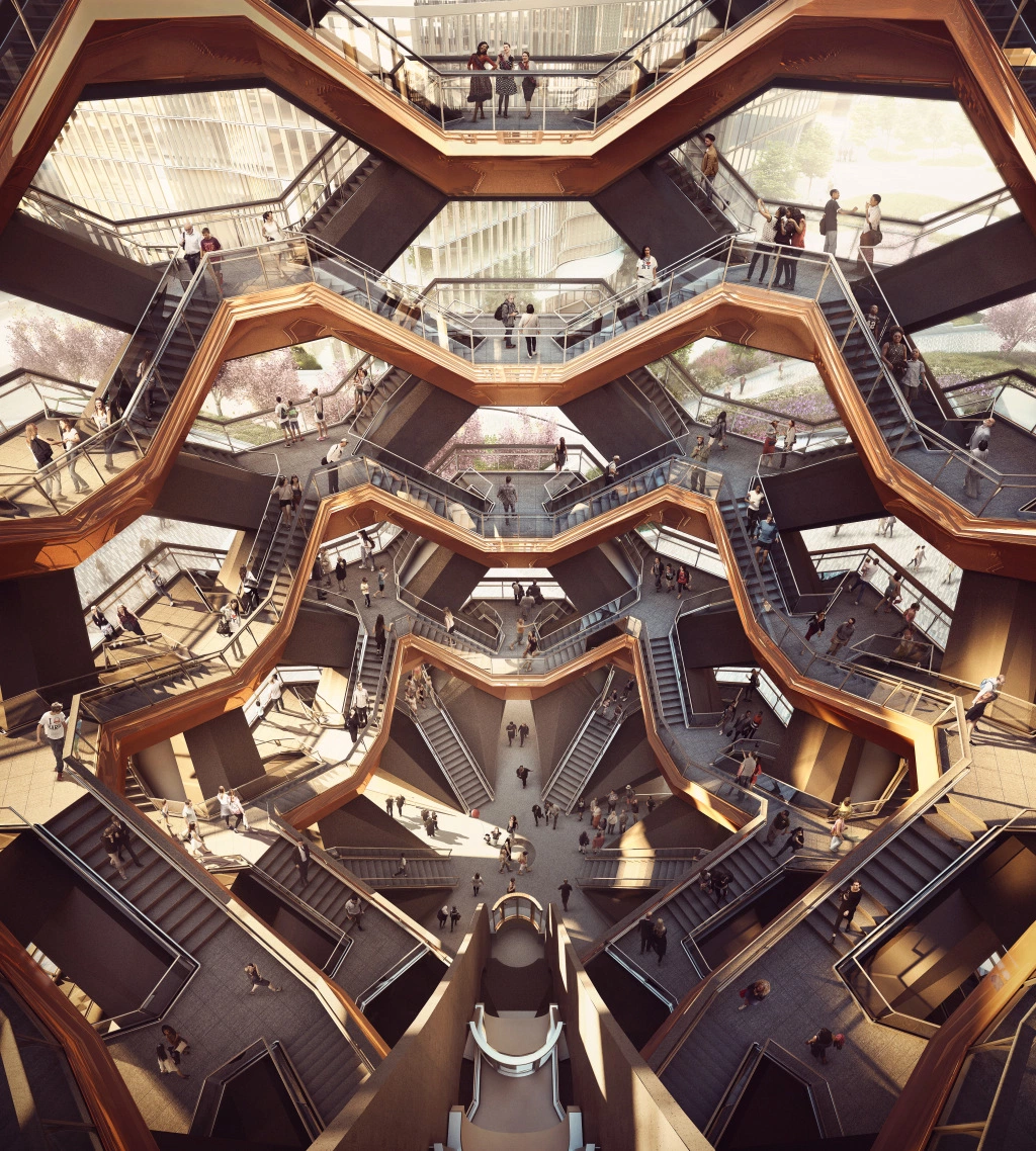 """STEPHEN ROSS VESSEL An artist's rendering of the interior of """"Vessel."""" Visitors will be able to ascend 2,  500 steps to panoramic views from a height of 15 stories. Courtesy of Forbes Massie–Heatherwick Studio"""