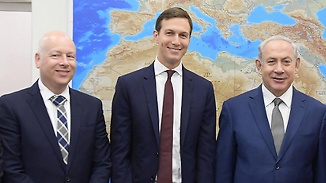Prime Minister Netanyahu with Jared Kushner and Jason Greenblatt (Photo Amos Ben Gershom GPO)