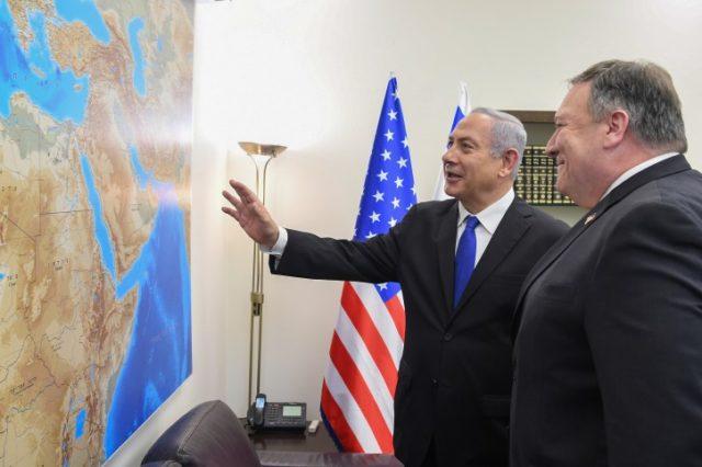 US Secretary of State Mike Pompeo ,Prime Minister Benjamin Netanyahu Stern MattyUS Embassy Tel Aviv