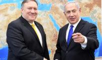 US Secretary of State Mike Pompeo Prime Minister Benjamin Netanyahu in the US Embassy Tel Aviv/ GPO