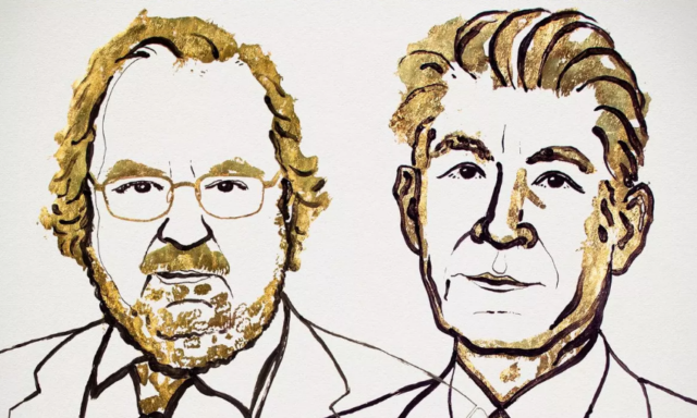 Am illustration of James P Allison and Tasuku Honjo provided by the Nobel Assembly. Photograph- Nobel Assembly