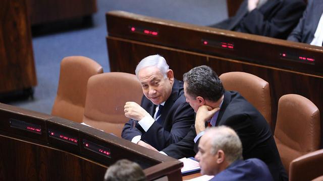 Prime Minister Benjamin Netanyahu at the vote (Photo Alex Kolomoisky)