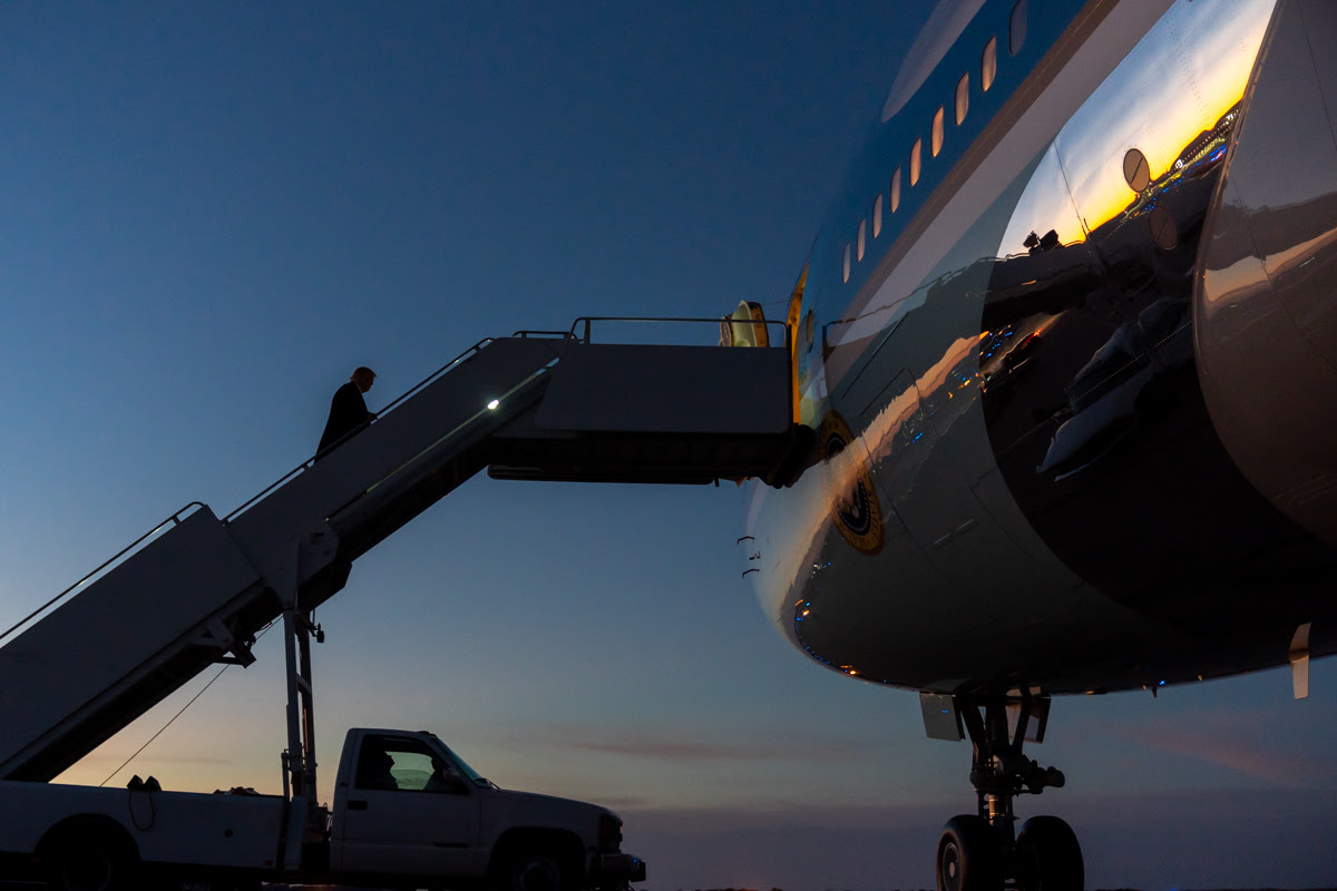 President Trump boards Air Force One in La Crosse, Wisconsin October 27, 2020 credit-White House