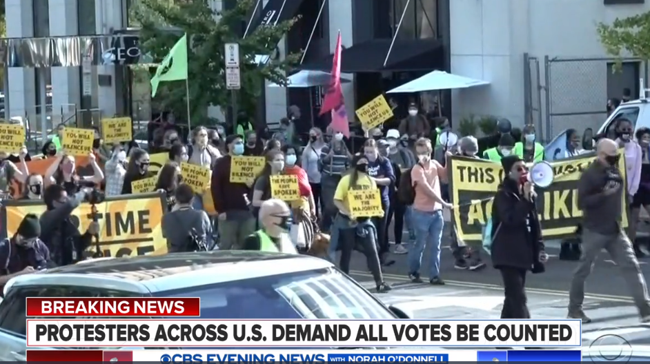 CBS screenshot after 2020 elaction – protests across the US