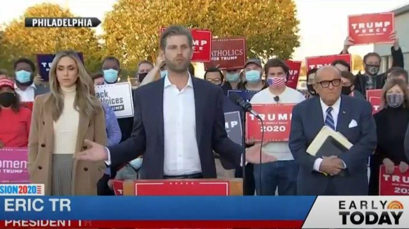 NBC news screenshot after 2020 elaction – Eric Trump protests